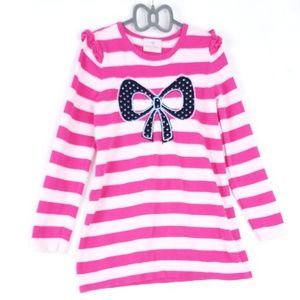 Hanna Andersson Pink Stripe/Blue Bow Long Sleev